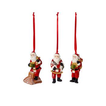 Nostalgic Ornaments zestaw ozdób św. Mikołaj, kolorowy, 3-częściowy, 9 cm