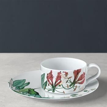 Avarua filiżanka do herbaty ze spodkiem, 230ml, biała/wielokolorowa