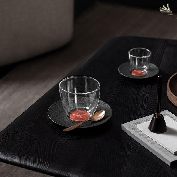 Manufacture Rock Glow spodek do filiżanki do kawy, miedziany/czarny, 15,5 x 15,5 x 2 cm, , large