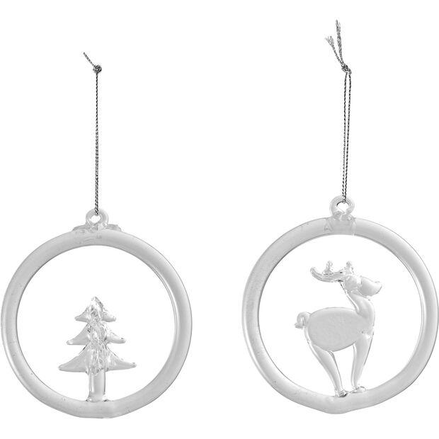 Christmas Decoration szklana ozdoba wisząca renifer i drzewo, 8,5cm, , large