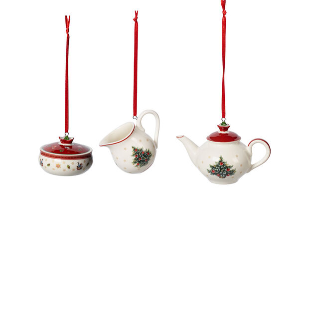 Toy's Delight Decoration zestaw ozdób w kształcie naczyń do kawy, biały/czerwony, 3-częściowy, 6,3 cm, , large