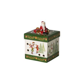 Christmas Toy's mały kwadratowy prezent, zielony/kolorowy, 9 x 9 x 13 cm