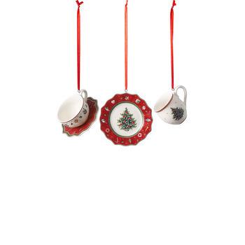 Toy's Delight Decoration zestaw ozdób w kształcie naczyń, czerwony, 4 x 7 cm, 3-częściowy