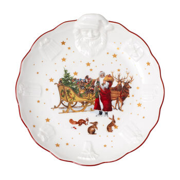 Toy's Fantasy miska z wypukłym wzorem św. Mikołaja nostalgia, kolorowa/czerwona/biała, 24 x 25 x 4,6 cm