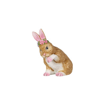 Easter Bunnies mały zając z wiankiem z kwiatów, brązowy/różowy