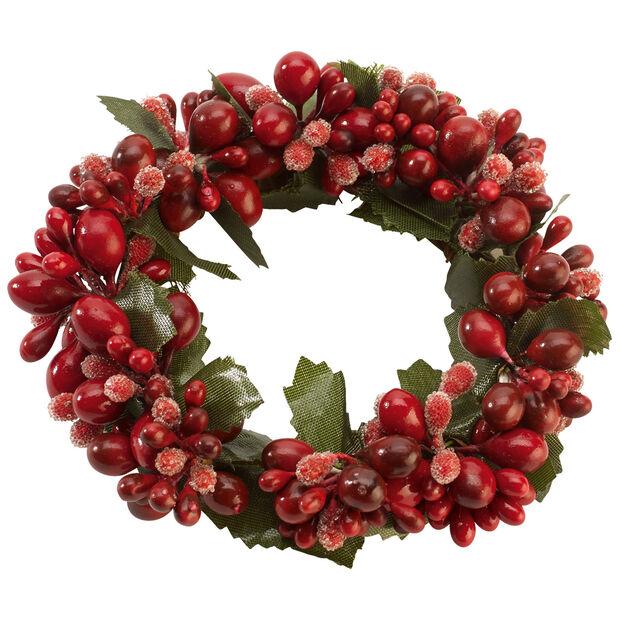 Winter Collage Accessoires Wianek na świecę czerwone jagody 10cm, , large
