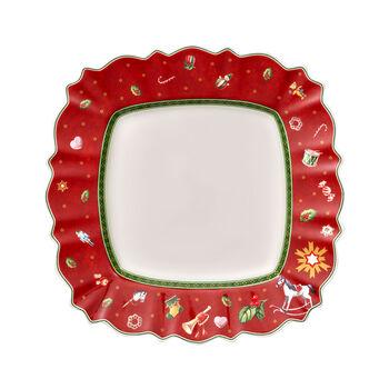 Toy's Delight kwadratowy talerz płytki, czerwony/kolorowy, 28 x 28 cm