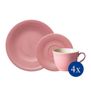 Color Loop Rose zestaw do kawy, różowy, 12-częściowy