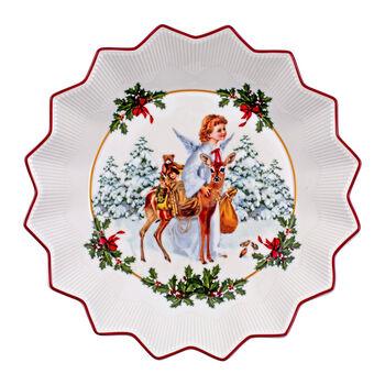Toy's Fantasy duża miska Aniołek, kolorowa/czerwona/biała, 24 x 24 x 4,5 cm