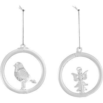 Christmas Decoration Glass Hanger Bird a Angel 8,5cm