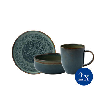 Crafted Breeze zestaw śniadaniowy, szaroniebieski, 6-częściowy