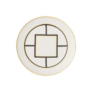 MetroChic talerz deserowy/śniadaniowy, średnica 22 cm, biało-czarno-złoty