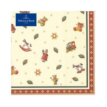 Winter Specials Toys serwetka lunchowa drobne motywy, zielony/czerwony/złoty, 20 sztuk, 33 x 33 cm