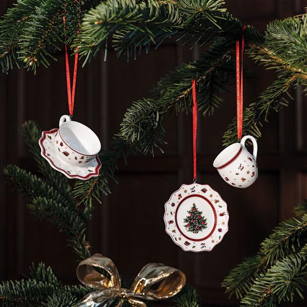 Toy's Delight Decoration zestaw ozdób w kształcie naczyń, biały/czerwony, 3-częściowy, 6,3 cm, , large