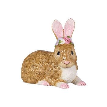 Easter Bunnies duży leżący zając z wiankiem z kwiatów, brązowy/różowy
