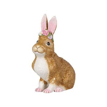 Easter Bunnies duży siedzący zając z wiankiem z kwiatów, brązowy/różowy