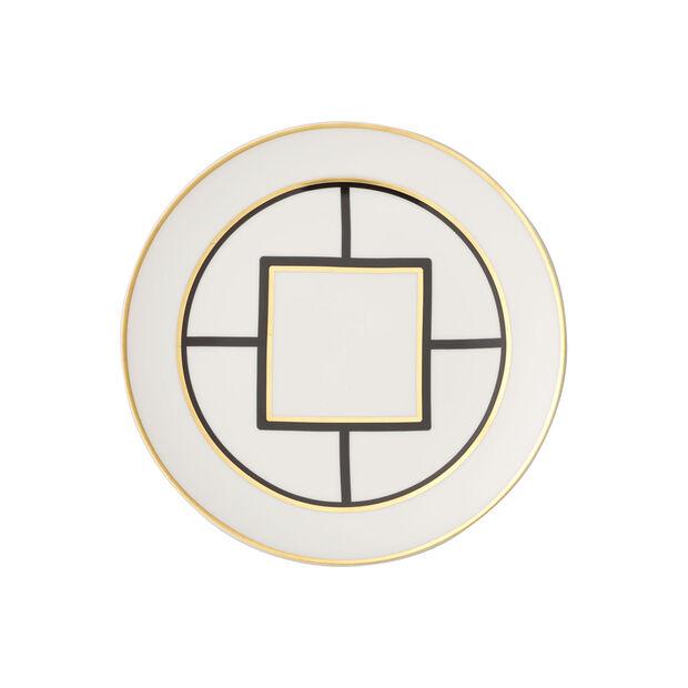 MetroChic talerz deserowy/śniadaniowy, średnica 22 cm, biało-czarno-złoty, , large