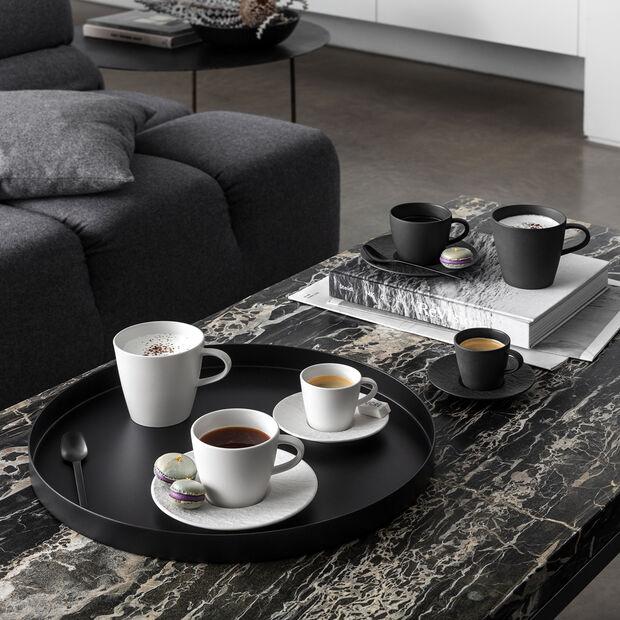 Manufacture Rock spodek do filiżanki do espresso, czarny/szary, 12 x 12 x 2 cm, , large