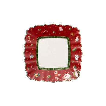 Toy's Delight kwadratowy talerzyk do pieczywa, czerwony/kolorowy, 17 x 17 cm