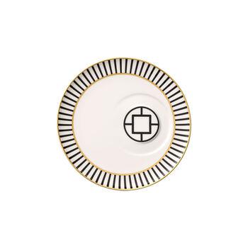 MetroChic spodek do filiżanki do herbaty, średnica 18,5 cm, biało-czarno-złoty