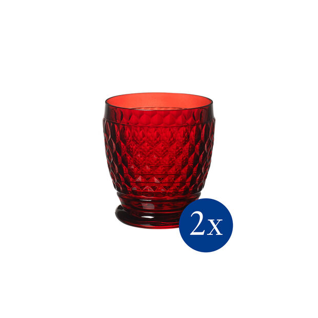 Boston coloured Szklanka red, Set 2 pcs, , large