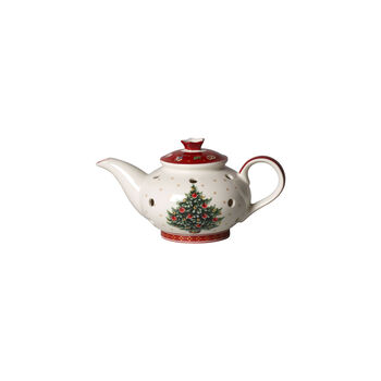 Toy's Delight Decoration świecznik na tealight dzbanek do kawy, biały/czerwony, 16 x 9,5 x 9 cm