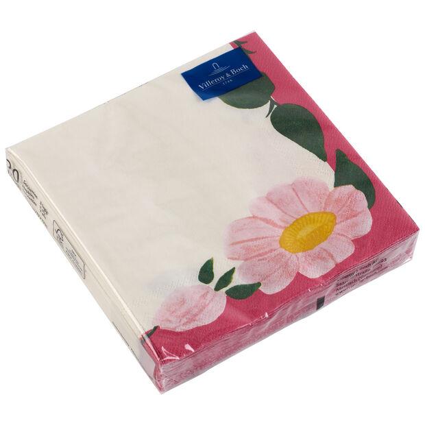 Papierowe serwetki Rose Sauvage Framboise, 20 sztuk, 33x33cm, , large