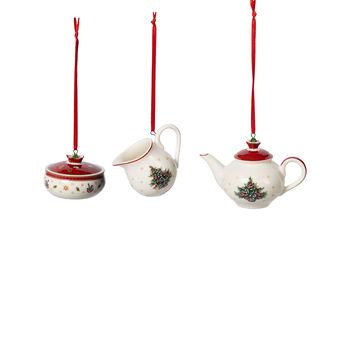 Toy's Delight Decoration zestaw ozdób w kształcie naczyń do kawy, biały/czerwony, 3-częściowy, 6,3 cm