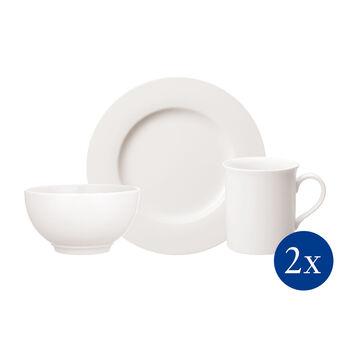 Twist White zestaw śniadaniowy dla dwóch osób 6-częściowy