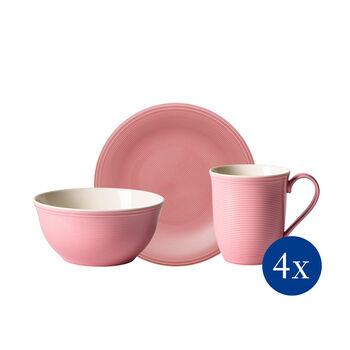 Color Loop Rose zestaw śniadaniowy, różowy, 12-częściowy