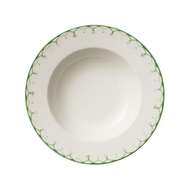 Colourful Spring głęboki talerz, 25 cm, 456 ml, biały/zielony, , large