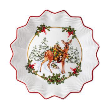 Toy's Fantasy mała miska sarenka z prezentami, kolorowa/czerwona/biała, 16,5 x 16,5 x 3 cm