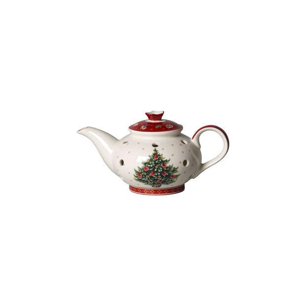 Toy's Delight Decoration świecznik na tealight dzbanek do kawy, biały/czerwony, 16 x 9,5 x 9 cm, , large