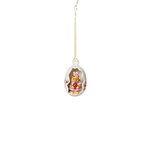Bunny Tales ozdobne jajko Anna, różowe kwiaty, 7 cm, , large