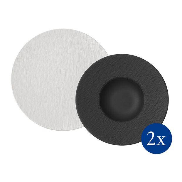 Manufacture Rock zestaw do makaronu, 4-częściowy, dla 2 osób, biały/czarny, , large
