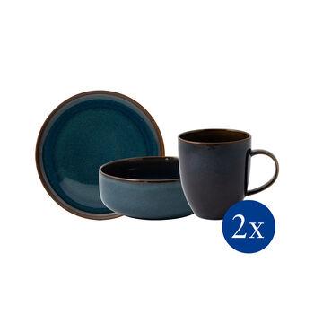 Crafted Denim zestaw śniadaniowy, niebieski, 6-częściowy