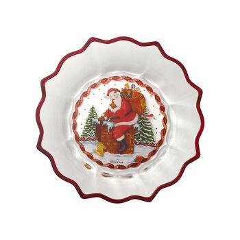 Christmas Glass Accessories Miska clear duża, św. Mikołaj na dachu 250mm