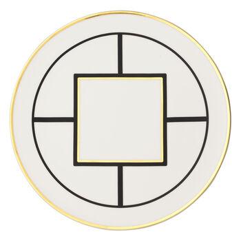 MetroChic talerz bufetowy i na ciasto, średnica 33 cm, biało-czarno-złoty
