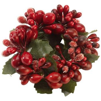 Obrączka na serwetki Winter Collage Accessoires czerwone jagody, czerwona, 6cm