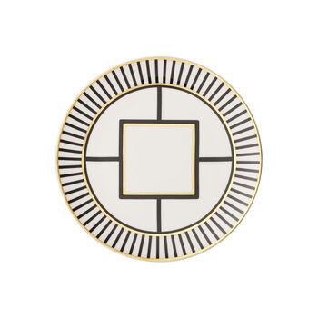 MetroChic talerz deserowy/śniadaniowy, biało-czarno-złoty