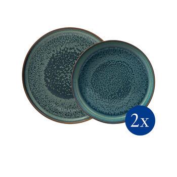 Crafted Breeze zestaw naczyń stołowych, szaroniebieski, 4-częściowy