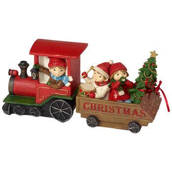 Winter Collage Accessoires Christm train w children 29x8x13,5cm