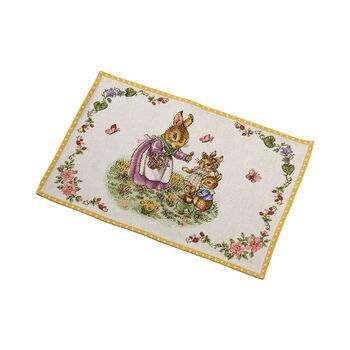 Spring Fantasy gobelinowe podkładki stołowe rodzina zajączków, 32 x 48 cm, kolorowe
