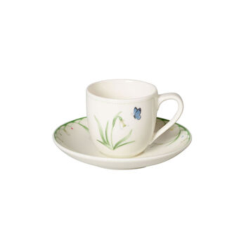 Colourful Spring filiżanka do espresso ze spodkiem, biały/zielony