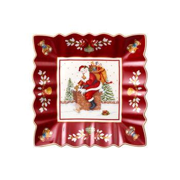 Toy's Fantasy Miska kwadratowa, św. Mikołaj na dachu 23x23x3,5cm