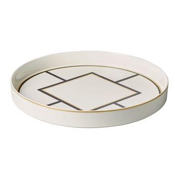MetroChic miska do serwowania i dekoracji, średnica 33 cm, głębokość 4 cm, biało-czarno-złota