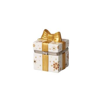 Christmas Toy's prostokątny prezent, złoty/biały, 7 x 6 x 9 cm