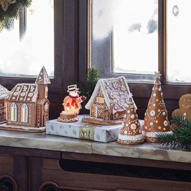 Winter Bakery Decoration mała choinka z piernika, brązowy/biały, 8 x 8 x 15 cm, , large