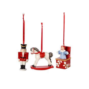 Nostalgic Ornaments zestaw ozdób zabawki, kolorowy, 3-częściowy, 9,5 cm