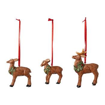 Nostalgic Ornaments zestaw ozdób rodzina jeleni, 7 x 6 cm, 3-częściowy
